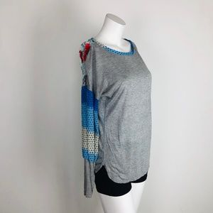 TINY Gray Blue Floral Contrast Puff Slv Knit Top